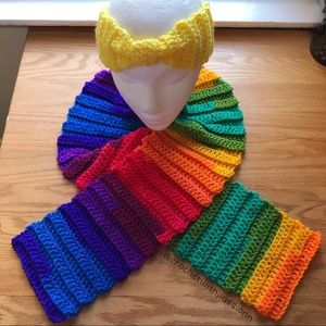crochet rainbow scarf set